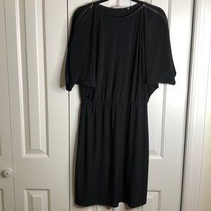 Black T Tahari dress- zipper detail elastic waist